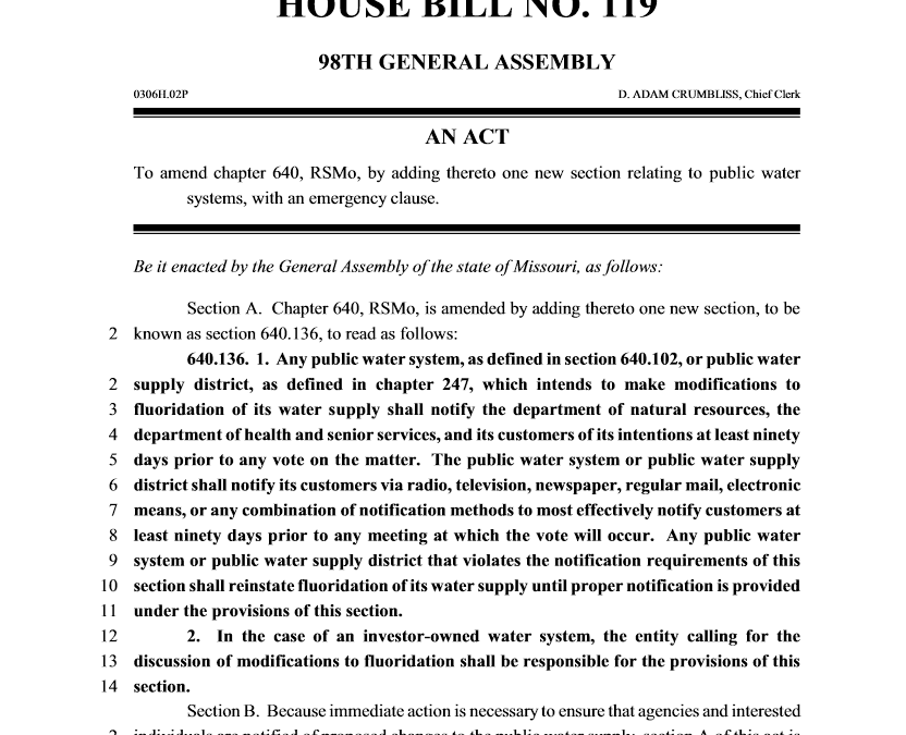 Return of the Fluoride Notification Bill (HB 119)