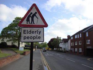 caution elderly sign