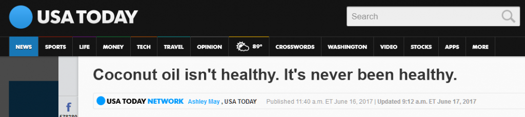 USA Today headline on coconut oil