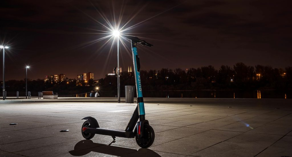 electric scooter at night time