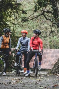 3 women on bicycles