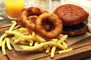 burger, fries, and onion rings