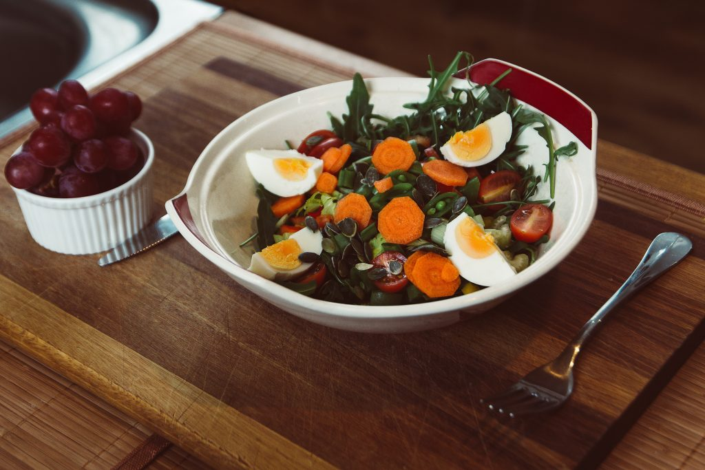 healthy meal of vegetables and egg