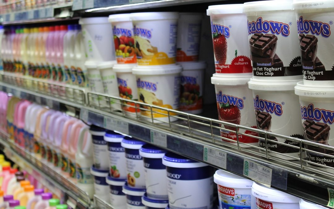 grocery case with yogurt